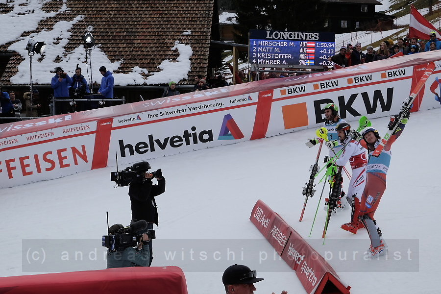 the winners hirscher, matt, and kristoffersen